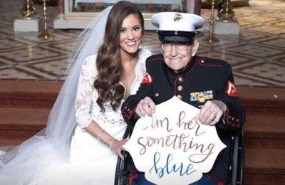 Bride's 'something blue': Her 92-year-old uncle