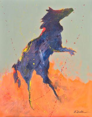 "Contemporary Expressionist Equine Fine Art Painting ""Freedom"" by Oklahoma Artist Nancy Junkin"
