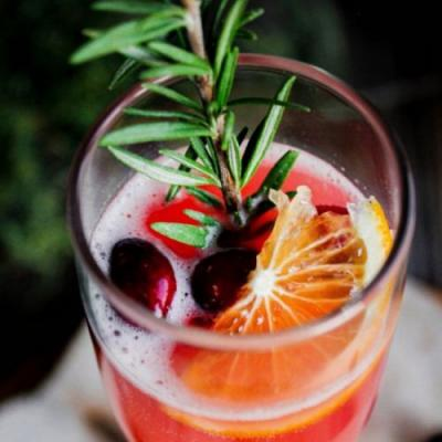 Cranberry Orange Mimosa w/ Rosemary