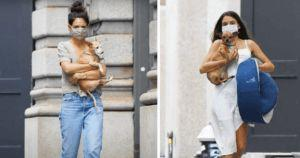 Katie Holmes And Daughter Suri Cruise Show Off Their Pampered Pups