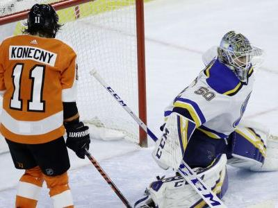 Binnington gets shutout in 1st start, Blues beat Flyers 3-0