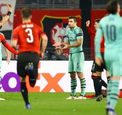 Rennes 3 Arsenal 1: Sarr leaves Gunners on the brink after Sokratis red card