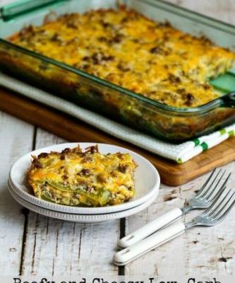 Beefy and Cheesy Low-Carb Green Chile Bake