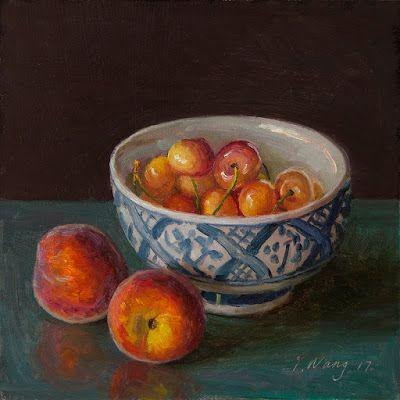 Peaches and cherries painting a day