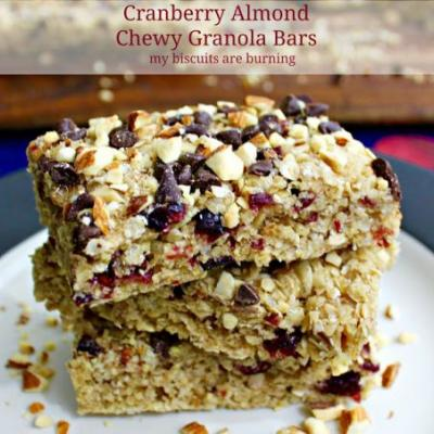 Cranberry Almond Chewy Granola Bars