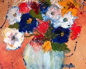 "Abstract Still Life Flower Art Painting ""Flashing Primaries"" by Florida Impressionism Artist Annie St Martin"