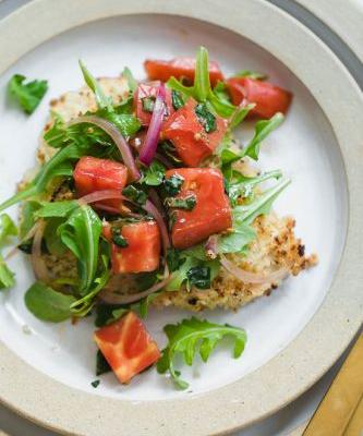 Baked Chicken Milanese with Arugula and Tomatoes