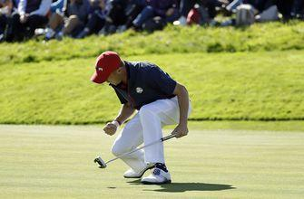 The Latest: All 12 matches out in Ryder Cup singles