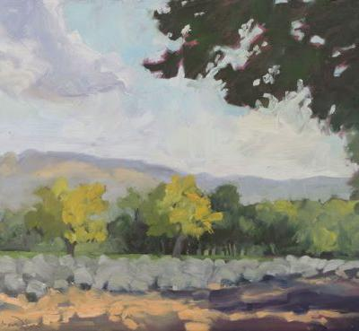 Contemporary new mexico plein air landscape by dawn chandler - 'hint of autumn' now available