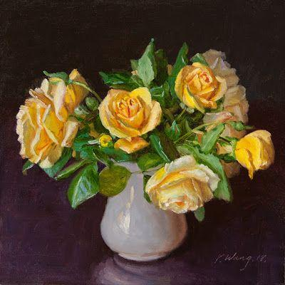 Yellow roses flower still life oil painting original contemporary realism
