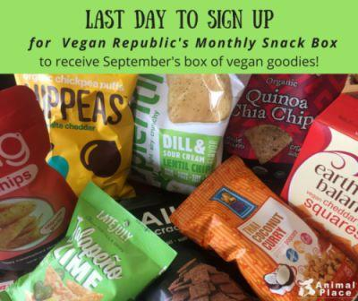 Don't miss out on September's yummy vegan snack box!Sign up