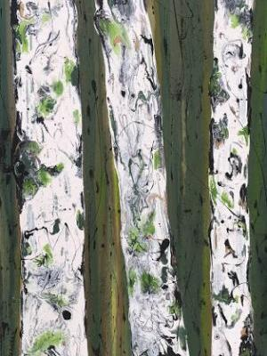 "Aspen Tree Painting,Abstract Landscape,Birch Trees ""FOREST REFLECTIONS-ASPENS ON GREEN SERIES"" by Colorado Contemporary Landscape Artist Kimberly Conrad"