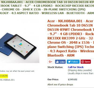 Acer Chromebook Tab 10 Will Likely Be Available In June