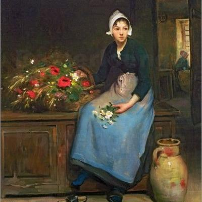 Celebrating The Earth's Beauty - 19C Young Flower Seller