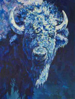 "Colorful Contemporary Animal Art ,Bison Painting, Buffalo ""Steve"" by Contemporary Animal Artist Patricia A. Griffin"