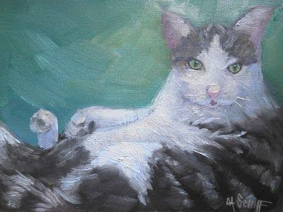 Animal Painting, Cat Painting, Daily Painting, Small Oil Painting, 6x8