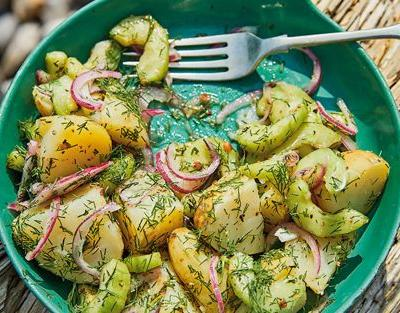 New potato salad with pickled cucumber, red onion and dill recipe