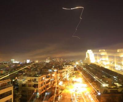 Raw footage shows Damascus sky as Syria hit by US, allied strikes