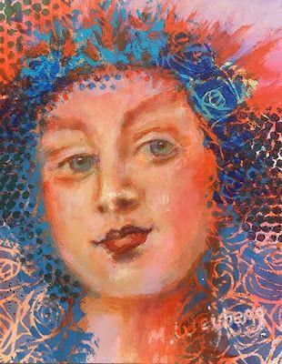 "Colorful Female Portrait,Painting ""Green Eyes"" by Illinois Artist Marilyn Weisberg"