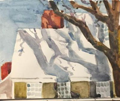 """Day 518 """"Morning Light"""" watercolor 5 x 8 - a snowy spring day"""