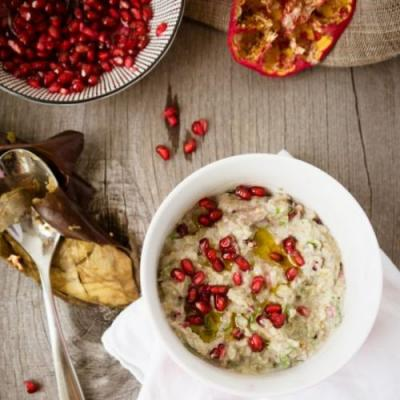Eggplants, tahini and pomegranate