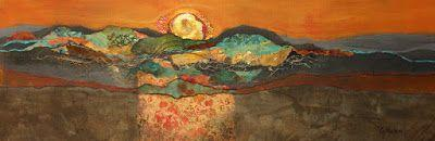 """Abstract mixed media collage landscape, """"Sonoran Sunset"""" © Carol Nelson Fine Art"""