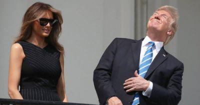 Trump Watches Eclipse Without Glasses, Ignores Fake News About