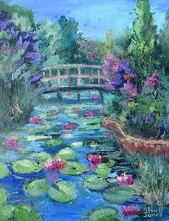 Clark Water Lily Garden, New Contemporary Landscape Painting by Sheri Jones