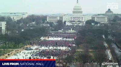 Aerial photos show the contrast between crowds at Trump's inauguration and the Women's March