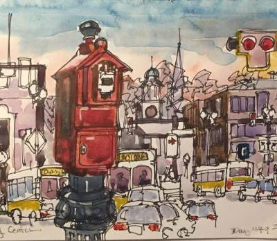 """Daily Drawing 449 """"Quincy Center"""" ink & watercolor"""