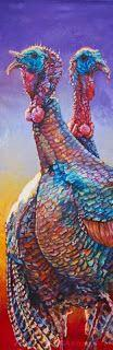 """Colorful Contemporary Wildlife Art,Turkey Painting """"Ben and Franklin"""" by Contemporary Animal Artist Patricia A. Griffin"""