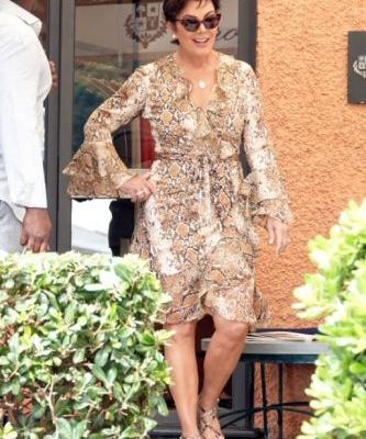 Kris Jenner Looks Chic in a Curve-Hugging Dress While Vacationing With Boyfriend Corey Gamble