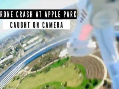Watch a drone crash into Apple's new spaceship campus in Cupertino