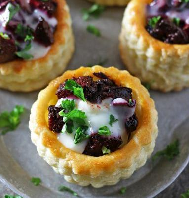 French Goat Cheese and Beet Puff Pastry Bites
