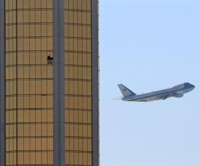 Chilling photo shows Air Force One flying past broken windows on Mandalay Bay hotel that Vegas shooter aimed from