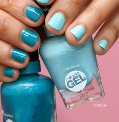 More MismatchedManis: Essie Gels Coutures and Sally Hansen Miracle Gels in Blues and Brights