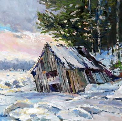 Old River Boathouse 16 in. x 20 in. Oil / Stretched Canvas