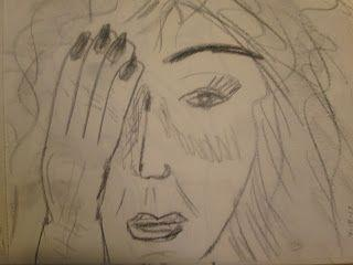 Woman Covering Right Eye - Graphite