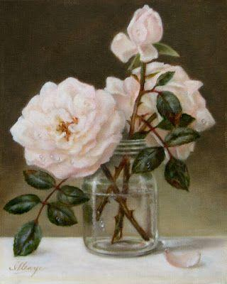 Blushing pink roses in glass jar 10x8 in. oil painting