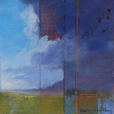 'I have found a horizon' mixed media landscape painting by santa fe artist dawn chandler