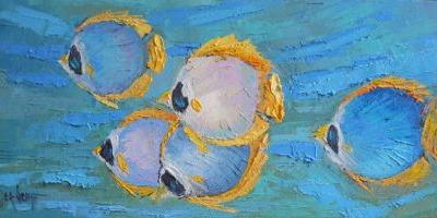 Fish Oil Painting, Small Oil Painting, Daily Painting, 8x16x.75