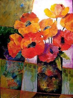 """Mixed Media Flower Art Collage Painting """"Orange Dream"""" by Colorado Mixed Media Abstract Artist Carol Nelson"""