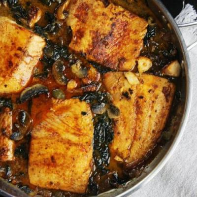 Coconut braised salmon