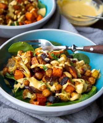 Roasted Vegetables & Chickpea Bowl with Hummus Dressing