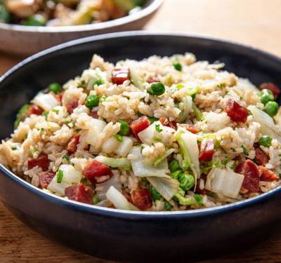 Fried Rice With Chinese Sausage, Cabbage, and Torch Hei