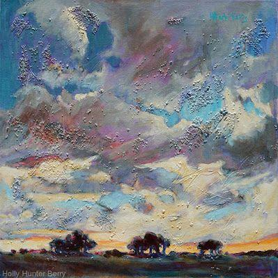"""Contemporary Colorful Landscape Painting ,Mixed Media, Fine Art For Sale, """"Then The Clouds Rolled In"""" By Passionate Purposeful Painter Holly Hunter Berry"""