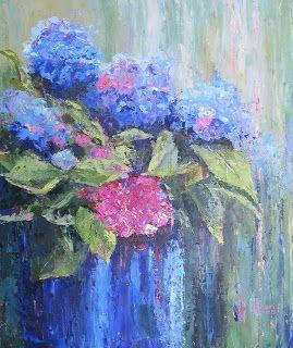Pink and Blue Hydrangeas, New Contemporary Landscape Painting by Sheri Jones