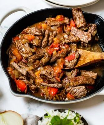 Carne en Bistec - Colombian Steak with Onions and Tomatoes