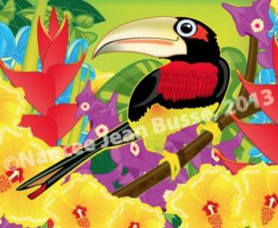 "Children's Art Illustration, Bird Art ""IVORY BILLED ARACARI"" by Nancee Jean Busse Artist, Fruita Children's Discovery Center"