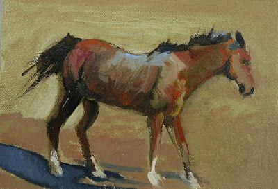 """Equine Oil Painting """" Brown Prancing Horse"""" by Colorado Artist Susan Fowler"""